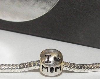 925 sterling silver, I love mom charm, mom charm , european charm, European bead, fits snake chain bracelet