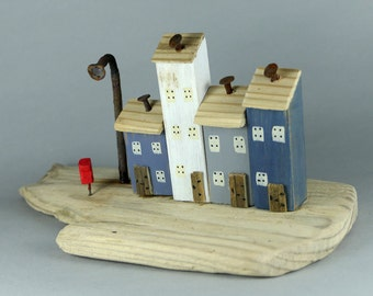 Handmade Little Painted Houses on Natural British Driftwood # 548