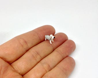Miniature Old English Sheepdog Puppy Dog For Doll House 1/48 1:48 Dollhouse Garden or Pet Shop