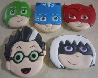 1 Dozen Hand Decorated PJ Masks Cookies Fan Art