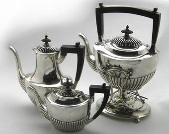 Vintage 1900s Sterling Silver 4 Piece Tea Set by Gorham Queen Anne Style A5005 A3180 Monogrammed