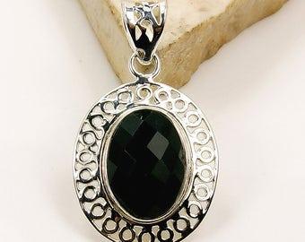 Midnight Princess Black Onyx Pendant 925 Sterling Silver Pendant U180 The Silver Plaza
