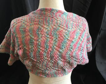 Hand Knit, Hand Knit Shrug, Petite Size, Hand Dyed Yarn
