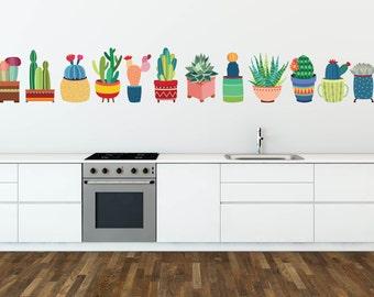 Kitchen Wall Decals, Cactus Wall Decals, Kitchen Wall Decor, Living Room Wall Decals, Living Room Wall Art