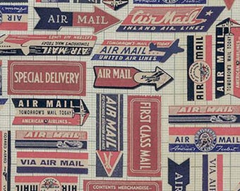 Coats - Tim Holtz - Eclectic Elements - Red Air Mail - By the Half Yard