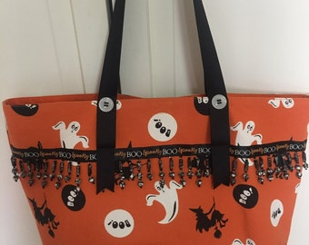 Halloween large fabric placemat shoulder bag with ghosts, witches and beading