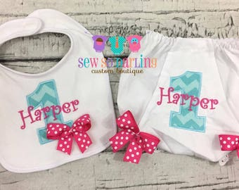 1st birthday pink and blue cake smash set - First birthday bib and bloomers - 1st birthday diaper cover - cake smash outfit girl