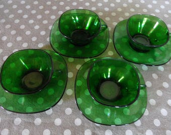 Green Vereco glass cups and saucers