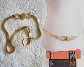 70s Vintage Jewel belt. 70s Golden metal vintage belt.