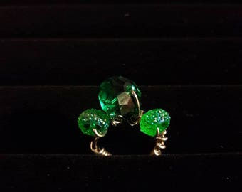 Women's emerald gemstone wire wrapped ring