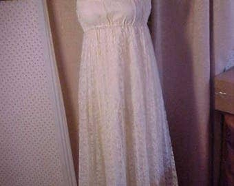 Vintage  60s  White Lace Empire (High Waist) Style  Dress, Ties at top of shoulders, #2241