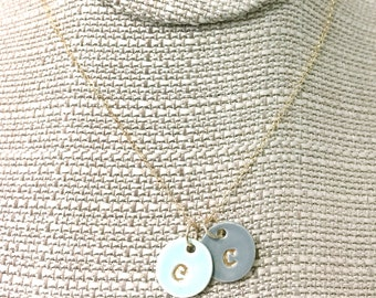 Two Charms Initial Delicate Necklace in 22k Gold Luster Overglaze on Ceramic Stoneware Includes Chain handmade monogram