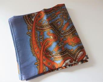 St.Michael 1960's  vintage blue paisley scarf