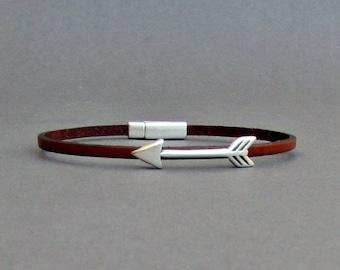 Arrow Bracelet Mens Tiny Leather Bracelet Spear Dainty Bracelet Boyfriend Gift Customized On Your Wrist width 3mm