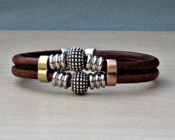 Mens Beaded Bracelet, Mens Leather Bracelet,  Bracelet For Him, Antique Silver Plated, Customized On Your Wrist