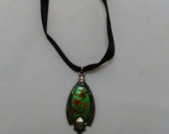 Victorian Style Black satin ribbon with Silver Color Metal and Floral Green Enamel pendant Necklace