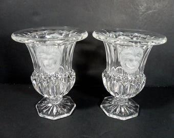 Godinger Shannon Crystal Set of 2 Lion Heads Urn Vase Votive Candle Holder