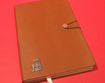 Public FootPath Sign Hand Cast Pewter Motif on A5 Tan Journal Countryside Walker's Gift Walking Note book