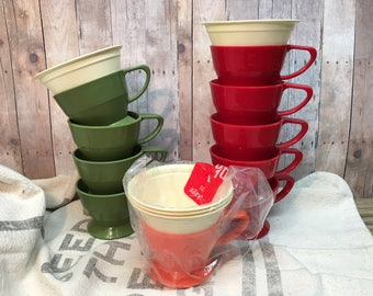 Vintage Solo Cozy Cups/Lifetime Holders/Set of 10/Green/Red