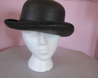 1980s Black Straw Derby Hat