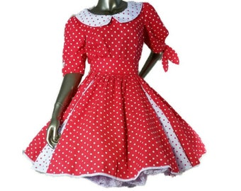 Vintage 80s Jeri Bee Rockabilly Square Dance Dress Red and White Polka Dot Peter Pan Collar