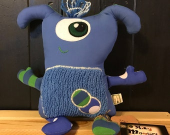 """Monster Plush - Merry Monsters - """"Ted"""" - Stuffie -  Handmade from Upcycled Materials"""