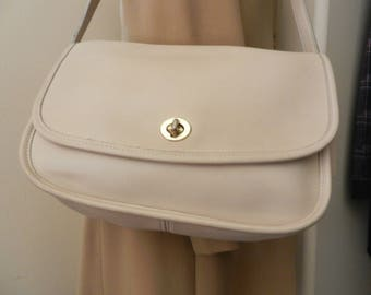 COACH LEATHER BAG - F90-9790 -  Bone Color Messenger Bag - About 40yrs old, Like New Condition - Real Collectors Bag