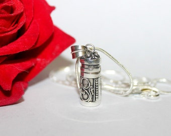 Perfume Bottle, Sterling Silver Perfume Bottle Necklace, Sterling Silver Perfume or Message Container, Oil Bottle, Perfume Vial