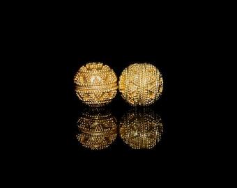 Two 13mm Gold Vermeil Granulation Beads, Bali Vermeil Beads, Gold Beads, Vermeil Granulation Beads, 13mm Vermeil Beads, 13mm Gold Beads