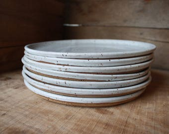 Set of 6 - Dinner Plates - Speckled White - KJ Pottery