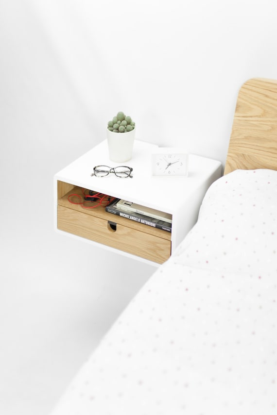 White Floating Nightstand Bedside Table Drawer In Solid Oak