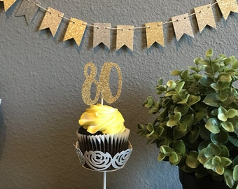 80th Birthday Cupcake Toppers, Birthday Cupcake toppers, 80th Birthday