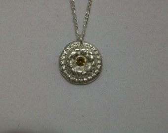 Yellow Garnet in Silver Metal Clay necklace