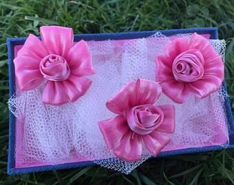 3 pcs Dark Pink Satin Flower , 47 mm