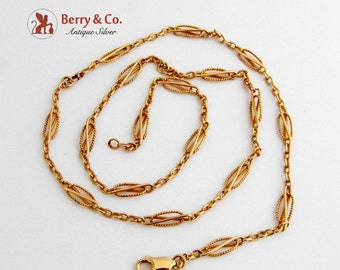 Ornate Chain Necklace 14 K Yellow Gold