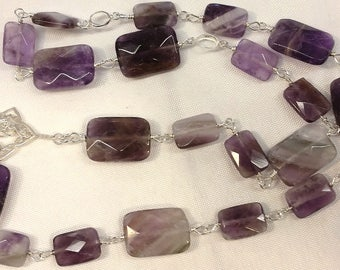 Faceted Amethyst Rectangle Sterling Silver Fine Silver Wire-Wrapped Necklace
