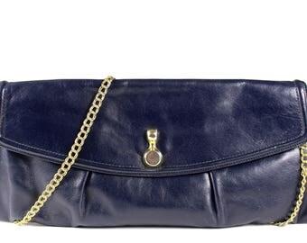 Vintage Blue Leather Satchel 60s Handbag Purse