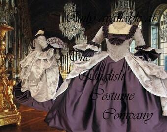 POLONAISED with full under skirt. Heavy brocade and taffeta Versailles Marie Antoinette gown. Fully boned for uplift