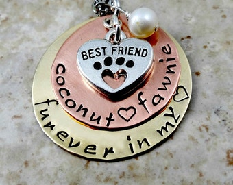 Pet Loss Remembrance - Furever In My Heart - Hand Stamped Necklace - Dog Cat Pet   Memorial Memento  Jewelry