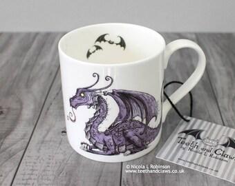 Mother Dragon Mug, Fine Bone China Mug, Purple Dragon, New Baby Gift, Gift for Mum, Collectable Mug, English Bone China,