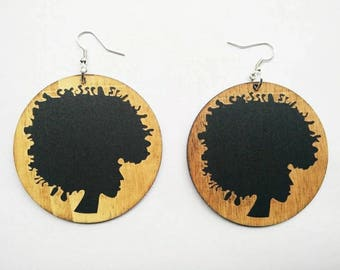Free to Be Me- Wooden Earrings- Qty: 1 pair
