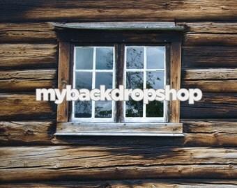 2ft x 2ft Log Cabin Window Photography Backrop - Window Photo Prop - Cabin House Photo Session Prop - Item 3055