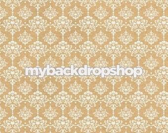 5ft x 5ft Beige Damask Wallpaper Photo Prop - Tan Damask Patterned Photography Backdrop - Neutral Wedding Photography Prop - Item 3218