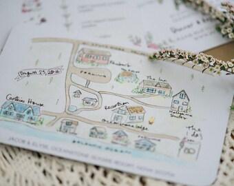 Watercolour wedding map // Wedding Invitation Map