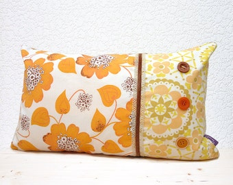 "Handmade 20""x12"" Cotton Lumbar Cushion Pillow Cover in Brown/Orange/Yellow/White Floral Retro Design Print"