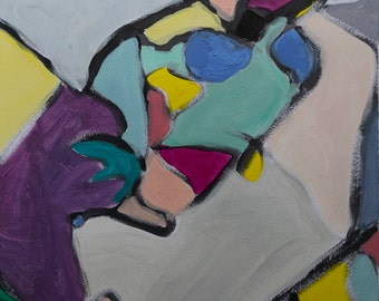 abstract art * original acrylic painting on paper * titled puzzled