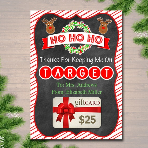 Target Wedding Gifts: EDITABLE Christmas Target Gift Card Holder Printable Teacher