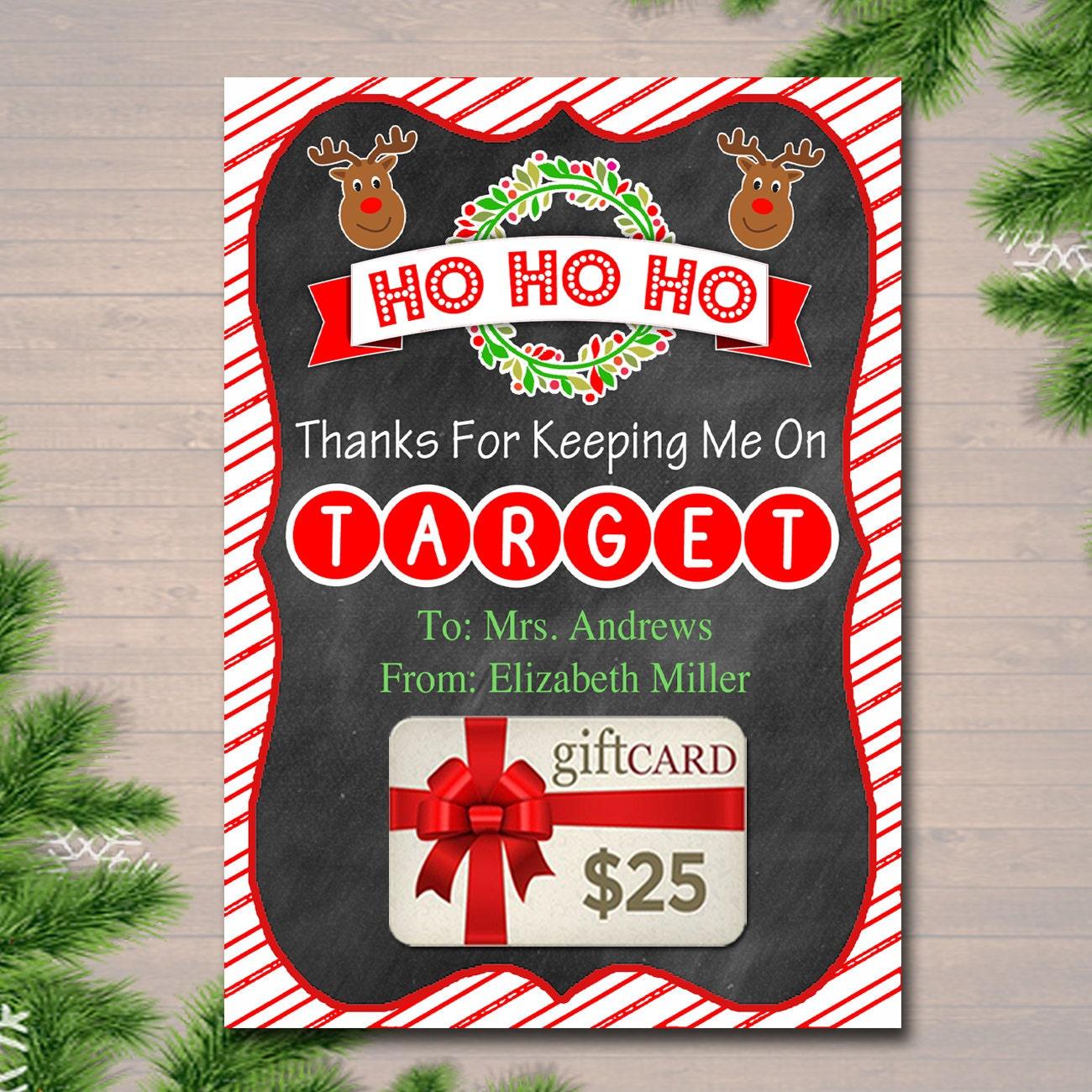 EDITABLE Christmas Target Gift Card Holder Printable Teacher