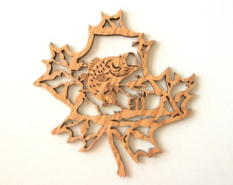 Wood laser cut wall decor - bass fish in a maple leaf sign