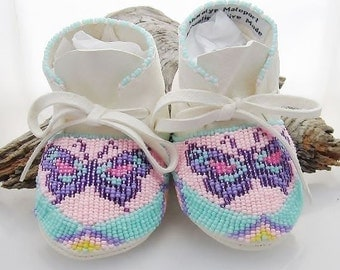 Mother's Day,Handmade Baby Gift, Girls Beaded Soft Soled Shoes, Leather Moccasins, Pink Turquoise Beaded, Native American Made, Girls Mocss